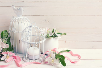 Background  with apple blossom, candles