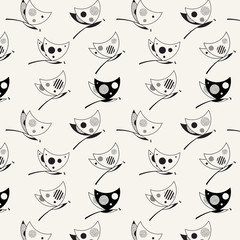 Modern black and white seamless pattern with dragonflies. Hipsters print. Vector illustration