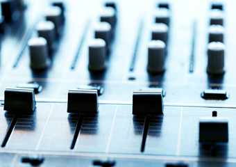 Sound mixer controller with knobs and sliders