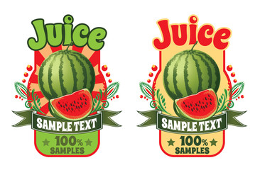 set of templates for labels of juice from ripe sweet red watermelon