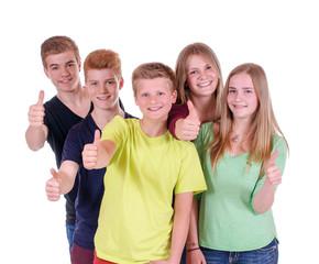 Gruppe Teenager mit Daumen hoch