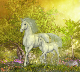 Unicorns in Glen - A white mother unicorn leads her colt through the magical forest full of spring flowers.