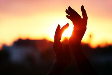 Female hands on sunset background