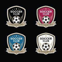 Set of soccer football crests and logo emblem designs