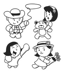 set of children in various style