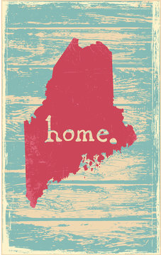 Maine nostalgic rustic vintage state vector sign