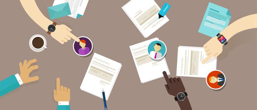 select cv resume on the desk employee recruitment process