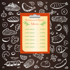 Menu on chalkboard with hand drawn doodle elements