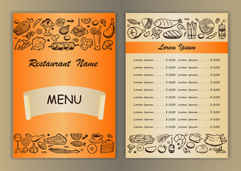 Restaurant menu with hand drawn doodle elements