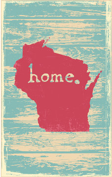 Wisconsin nostalgic rustic vintage state vector sign