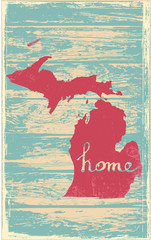 Michigan nostalgic rustic vintage state vector sign