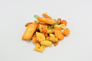 group of rice cracker on white background