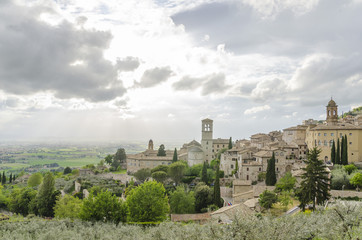 Panorama of the valley in Assisi, Italy