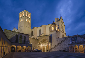 Basilica of St. Francis of Assisi at dusk, Umbria, Italy