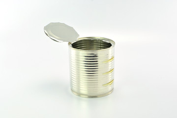 Open an empty tin can on white background