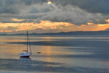 Scotland, Small fishing boat, on the beach,