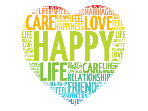 Happy concept heart word cloud