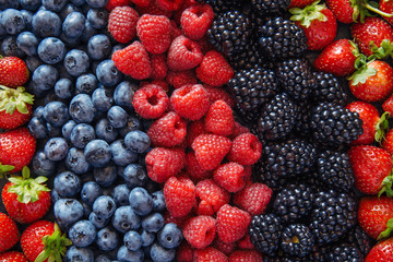 Healthy mixed fruit and ingredients from top view