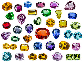 Bright gems on a white background Wall mural