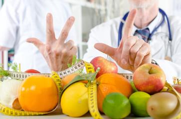 Doctor nutritionist showing a prescription