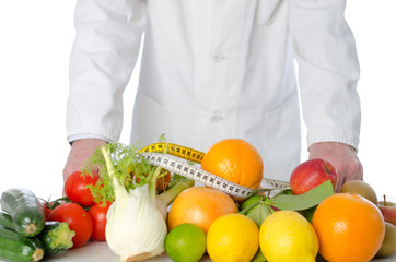 Doctor nutritionist in front of fruits and vegetables