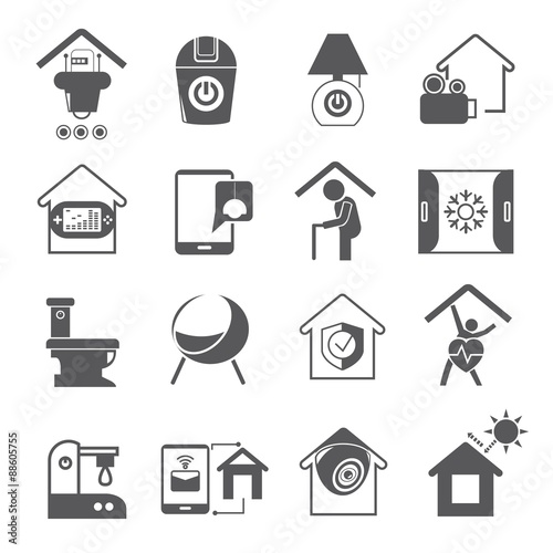 """""""home automation icons set"""" Stock image and royalty-free ... Home Automation System Icon"""