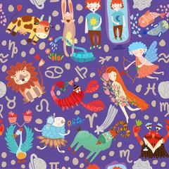 Cute seamless pattern with horoscope.Aries, taurus, gemini,cance