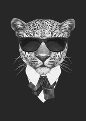 Portrait of Leopard in suit. Vector isolated elements.