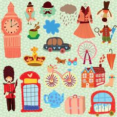 London cute set (A set of cartoon design elements)