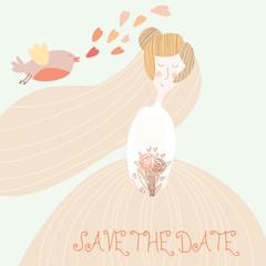 Cute romantic wedding invitation card with beautiful bride.Vecto