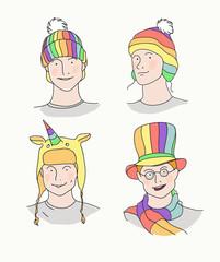 Men in rainbow hats. Gay,  LGBT symbolics. Vector hand drawn illustrations.