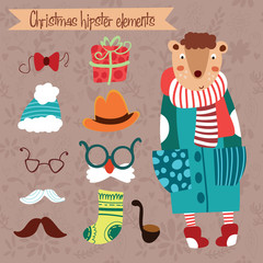 Hipster bear.Christmas vector set with hipster and christmas ele