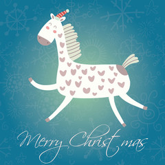 Cartoon Christmas and New Year vector card with cartoon funny ho