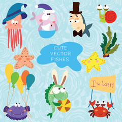 Cartoon vector set with fishes (Sea vector elements).Childish il