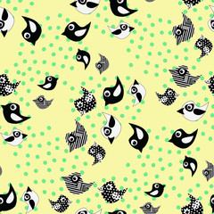 Black and white birds in a cartoon style on a yellow background.