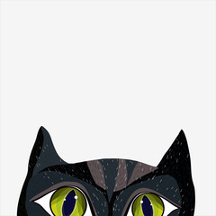 Black cat in cartoon style looks interesting. Vector illustration. Printing on T-shirt. Poster. Design. Isolated.