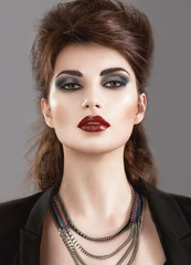 Beautiful Girl in the Gothic style with bright makeup. Beauty