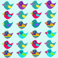 Cheerful seamless background in cartoon style. Project for textiles. Wallpaper for the nursery. Colorful funny birds.