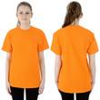 Textildruck auf T-Shirt Orange auf Brust und Rücken als T-Shirt-Bedruck