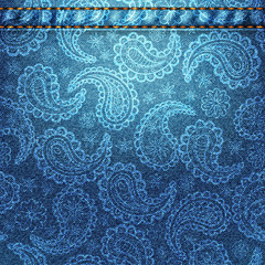 Texture of denim fabric with paisley.