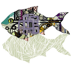 Vector image of fish in the steampunk style.