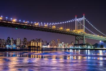 Night scene of New York City and the Queensboro 59th Street Bridge