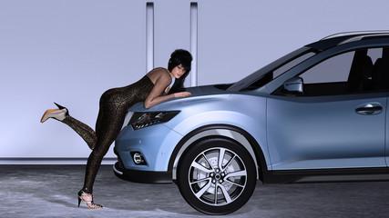 Eine junge Frau präsentiert ihr Lieblings-SUV