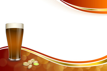 Background abstract red gold drink glass dark beer pistachios frame illustration vector