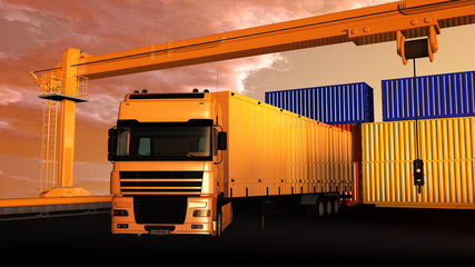 LKW im Containerhafen