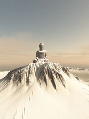 Illustration of a giant statue of Buddha on top of a lonely snow covered mountain peak, 3d digitally rendered illustration