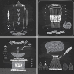Wall Mural - Coffee cards - Chalkboard style.