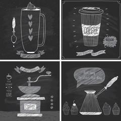 Wall Mural - Coffee cards - Chalkboard style.