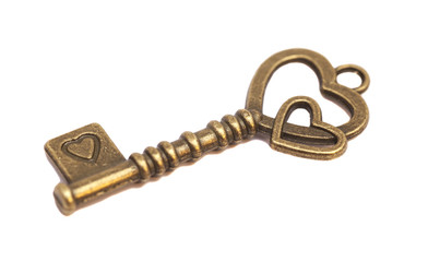 Key with heart shape isolated on white background