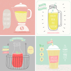 Wall Mural - Smoothie cards - Hand drawn style.